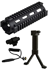 AR15/M4 Carbine Length Rifle 2-Piece Quad 4-Weaver/Picatinny Rail Aluminum Handguard + Tactical Stealth Black Bipod Foregrip Polymer Grip + Compact Tactical Adjustable Red Laser Less Than 5mw - 3pcs Combo Combination Package Kit Set