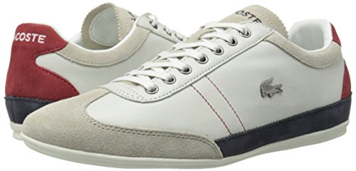 Lacoste Men's Misano 15 Lcr Casual Shoe Fashion Sneaker, Off White/Blue/Red, 8 M US