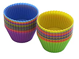 Rainbow Wave Kitchen Silicone Baking Cups, Unbleached Reusable Muffin Cup or Silicon Cupcake Liners, No BPA, 24 Piece