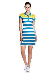 U.S.Polo Assn. Women's Cotton Cut-Out Dress (UWDR0141_Blue Aster_Large)