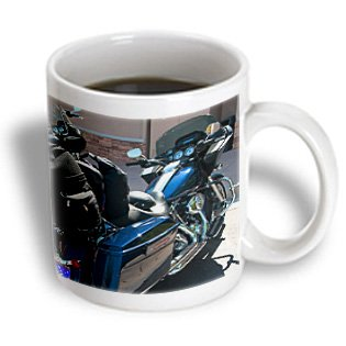 3Drose A Shiny, Sparkly Blue Harley-Davidson Parked Outside In Sunshine In Dixie, Ceramic Mug, 11-Oz