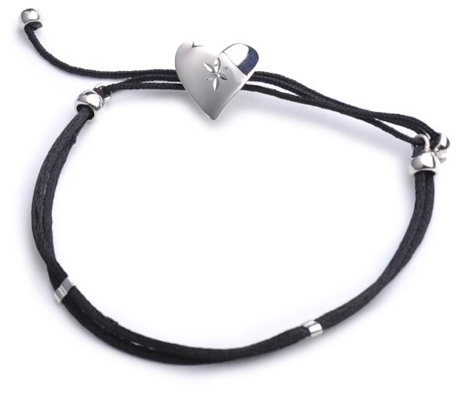Silver Diamond Cut Heart and Black Cord Bracelet