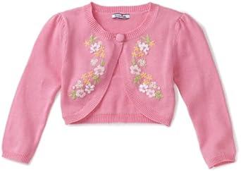 Hartstrings Little Girls' Floral Sweater Shrug, Rosebloom, 5-6