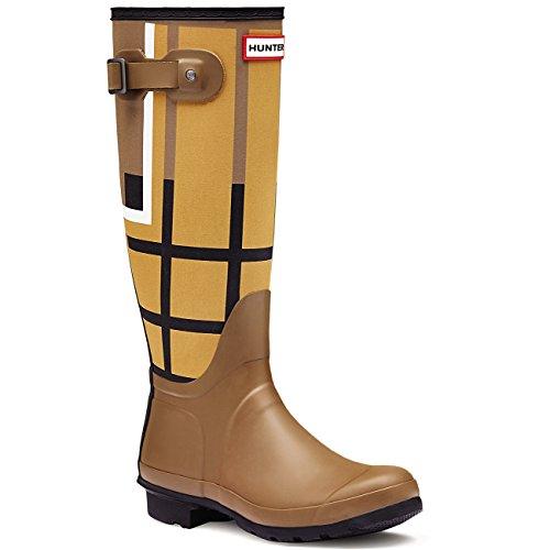 Womens Hunter Original Tartan Tall Winter Rain Boots Snow Wellingtons - Burnt Sulphur/Light Khaki Brown - 8 - 39
