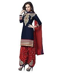 Shree Khodal Women's Blue Cotton Dress Material [SK_JCN1042_D]