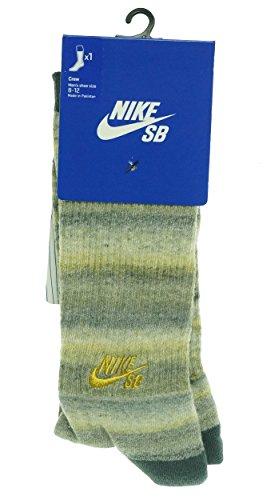 Nike Mens SB Dri-Fit Space Dye Camo Crew Socks-Bomber Grey/Gold-Large
