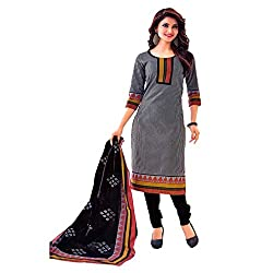 Muac New Grey & Black Pure JodhPuri Printed Cotton Semi Stitched Suit ( Dress ) + Navratri Gift