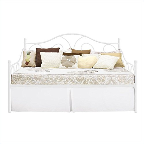 dhp victoria full size metal daybed white furniture beds accessories beds trundle beds. Black Bedroom Furniture Sets. Home Design Ideas