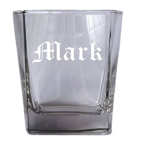 Engraved Personalized Square Rocks Glass Tumbler - Wedding Party Groomsmen Father's Day Gifts - Custom Monogram Drinkware Glassware Barware Etched for Free (Personalized Rocks Glasses compare prices)