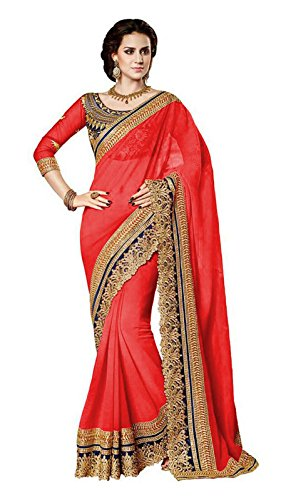 B Bella Creation Red Colour Chiffon Heavy Embroidered Bollywood Designer Saree With UnStitched Blouse Piece