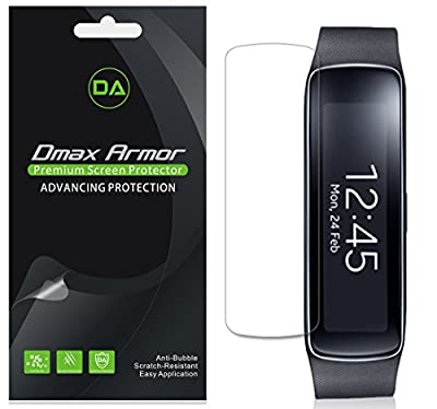 [3-Pack] Dmax Armor Samsung Gear Fit Screen Protector Anti-Bubble High Definition Clear Shield - Lifetime Replacements Warranty- Retail Packaging