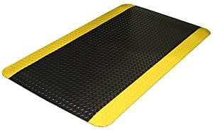 "Durable Corporation Vinyl Diamond-Dek Sponge Industrial Anti-Fatigue Mat, For Indoors, 24"" Width x 36"" Length x 9/16"" Thickness, Black with Yellow Border"
