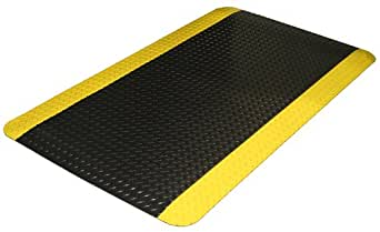 "Durable Corporation Vinyl Diamond-Dek Sponge Industrial Anti-Fatigue Mat, For Indoors, 36"" Width x 60"" Length x 9/16"" Thickness, Black with Yellow Border"