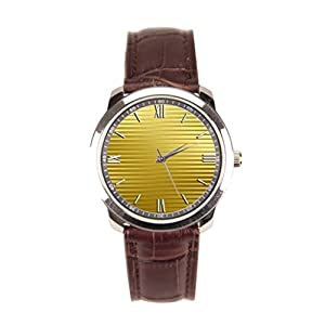 Dr. Koo Geometric Pattern Brown Leather Watch Gold Stripes Brown Leather Watch Mens