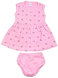 kandyfloss Baby Girls' A-Line Frock and Bottom Set (MRHKF-FROCK-PINK, Pink, 6-9 Months)