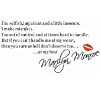 I am Selfish-MARILYN MONROE Famous Quote Wall Sticker Paper Art Decal Decors Vinyl from Other