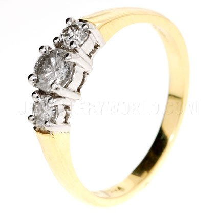 0.50ct Diamond 18ct Gold Trilogy Ring