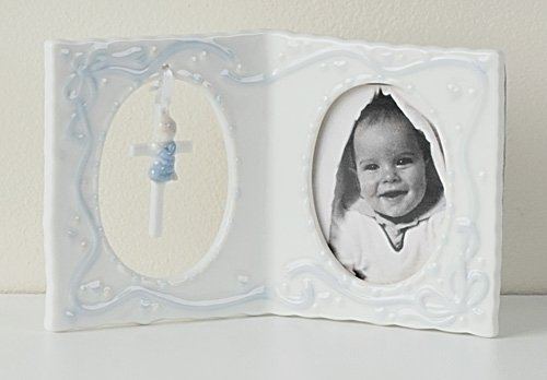 "4"" Boy Baby Frame with Cross"