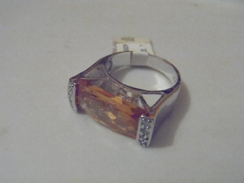 Silver and Burnt Orange Rectangle Ring Size 7