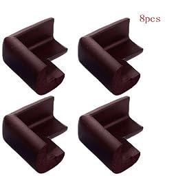 eBuy® Brown 8pcs Baby Furniture Corner Safety Bumper Security Table Desk Corner Edge Protector Guard Cushion Softener