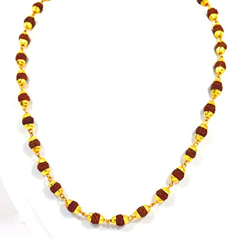 c9b5dd393a Fabzeel Rudraksha Mala one gram gold plated long 24 inch chain for ...