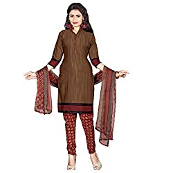 Manthan Crepe Brown Printed Women's Chudidar Suit MNTKFKLFSY44013