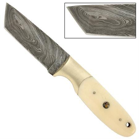 Full Tang Tanto Camel Bone Handle Damascus Knife