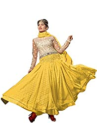 Th Fashion World Cream and Yellow Embroidered Work Semi Stitched Gown Crafted on Net Fabric