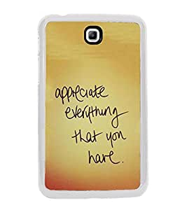 Life Quote 2D Hard Polycarbonate Designer Back Case Cover for Samsung Galaxy Tab 3 8.0 Wi-Fi T311/T315, Samsung Galaxy Tab 3 8.0 3G, Samsung Galaxy Tab 3 8.0 LTE