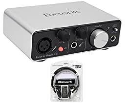 Package: Focusrite ITRACK SOLO LIGHTNING 2 in / 2 out USB Recording Interface Compatible With iPad/Mac For Amazing Digital Audio Quality + Numark HF 125 Professional DJ Headphones