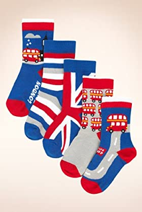 5 Pairs Of Younger Boys' Assorted London Transport Socks