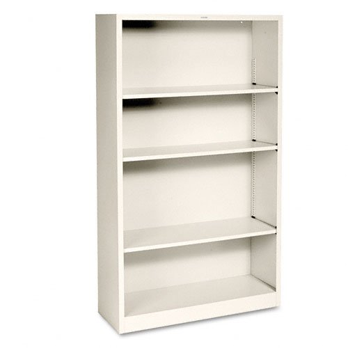 Metal Bookcase, Four-Shelf, 34-1/2w x 12-5/8d x 59h, Putty