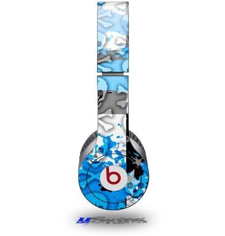 Checker Skull Splatter Blue Decal Style Skin (Fits Beats Solo Hd Headphones - Headphones Not Included)