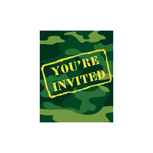 Best Buy! Creative Converting Gear 8 Count Party Invitations, Camo