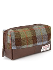Pure Wool Harris Tweed Checked Washbag