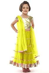 Beautifull Small Girl's Yellow Lehenga Choli With Dupatta (8-10 Years) Presenting by Sixsense Retailers