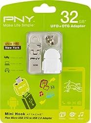 PNY Mini Hook Attache with OTG Adapter 32GB Pendrive USB 2.0 Pen Drive