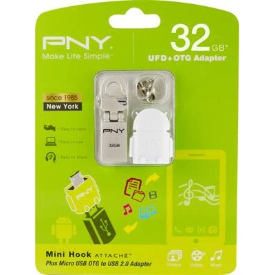 PNY Mini Hook Attache with OTG Adapter 32GB Pendrive USB 2.0 Pen Drive