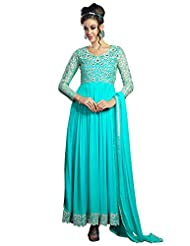 Fabboom New Fashion Mind Blowing Blue Georgette Designer Long Anarkali Suit
