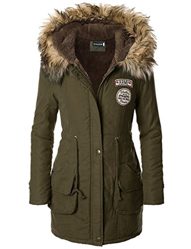 iLoveSIA Womens Hooded Winter Coats Faux Fur Lined Parkas Army Green UK Size 14
