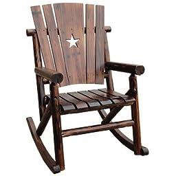 Varnished Wood Single Rocker with Star, Brown
