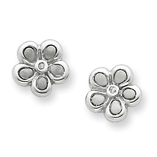 Sterling Silver White Ice .02ct. Matte Finish Diamond Flower Earrings. Comes in a lovely Gift Box
