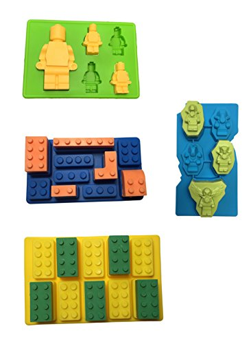 W&Co Molds Ice Cube Trays Lego Building Bricks and Figures (4) This set includes The New Leyend of Chima mold good to make ice, candy, chocolates, and many great Lego favors