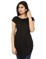 Teemoods Women's Short Sleeve Long Viscose Top_TM-1601blk