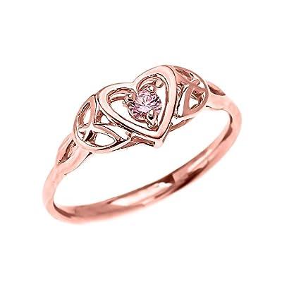Trinity Knot Heart 14k Rose Gold Promise Ring