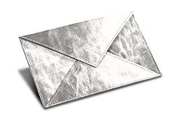 Lucrin - Rectangular A6 Envelope - Silver - Metallic Leather