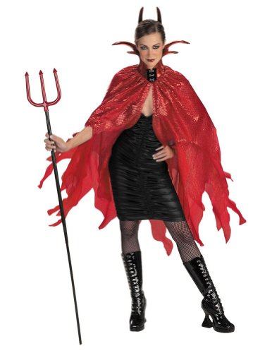 Cape Devil Red Halloween Costume - 1 size
