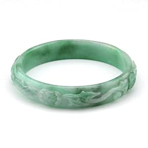 Carved Green Jade Bangle Bracelet