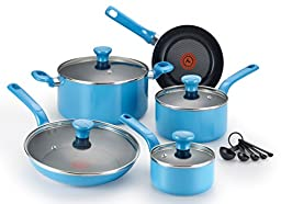T-fal C969SE Excite Nonstick Thermo-Spot Dishwasher Safe Oven Safe PFOA Free Cookware Set, 14-Piece, Blue