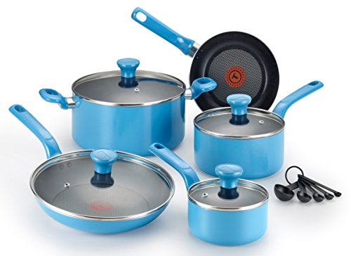 T-fal C969SE Excite Nonstick Thermo-Spot Dishwasher Safe Oven Safe PFOA Free Cookware Set, 14-Piece, Blue (Blue Pans compare prices)